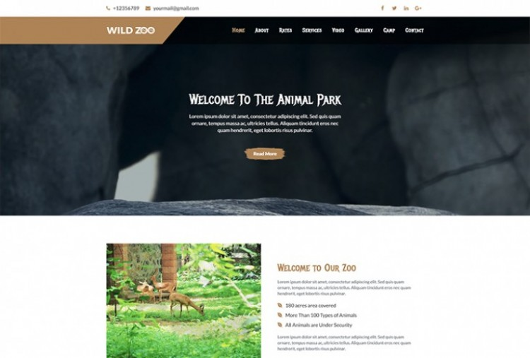 Wild zoo One Page html template
